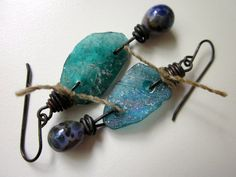 Leviathan- ancient iridescent teal blue Roman glass shards, pearly lavender lampwork glass drops, vintage hemp yarn, & black brass earrings by LoveRoot, $39.00
