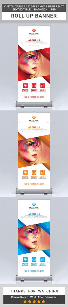 Photography Roll-Up Banner Template PSD