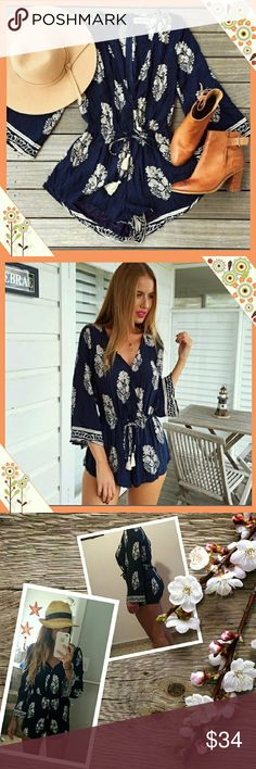 SAVED FOR JESSIE - SOLD OUT! Beautiful blue and white print bell sleeve romper with V neckline.  Material is rayon polyester should.  Machine wash cold hand dry.  A Beautiful piece and a hot seller!   Last pictures from happy buyers of this romper! Pants Jumpsuits & Rompers
