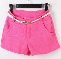 Rose Red Mid Drawstring Waist Pockets Shorts