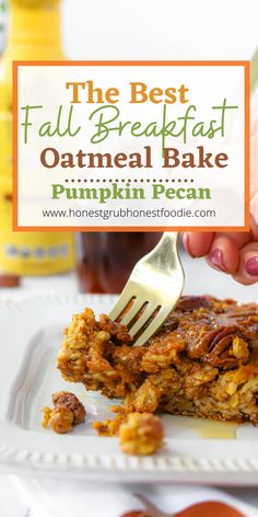 The best oatmeal bake for Fall and Winter. This delicious dairy free pumpkin oatmeal bake is one of our favorite meal prep breakfasts. Enjoy this fast, healthy, easy and delicious breakfast the whole family will love.
