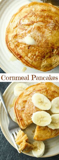 Super easy, soft and fluffy cornmeal pancakes! Cornmeal Pancakes, Pancakes Easy, Cornmeal Recipes, Breakfast Recipes, Breakfast Menu, Breakfast Pancakes, Breakfast Club, Breakfast Ideas, Muffins