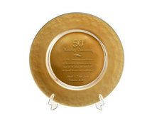 50th Gold Glass Wedding Anniversary Plate