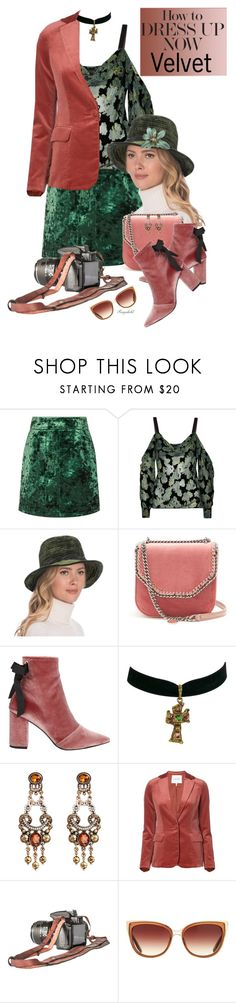 """Crushing on Velvet"" by ragnh-mjos ❤ liked on Polyvore featuring Sandro, Saloni, Eric Javits, STELLA McCARTNEY, Robert Clergerie, Christian Lacroix, Frame and Barton Perreira"
