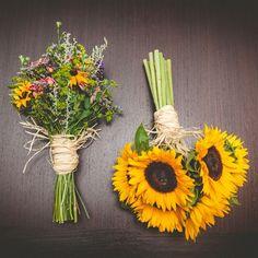 Sunflower Bridal Bouquet and Wildflower Bridesmaid Bouquet