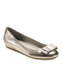 Take a look at this Light Gold Owando Bow Flat by ECCO on #zulily today!