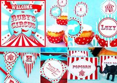 Circus Carnival Party Decorations HUGE Set  - Banner Cupcake Toppers and MORE - as seen on Amy Atlas Gwynn Wasson Designs PRINTABLE