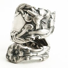 Lily Ring Large Ring Sterling Silver Spoon Ring Art by Spoonier