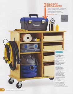 See how to organize a garage, and some ideas for garage storage in this article. You can finally have an organized garage. Workshop Storage, Workshop Organization, Garage Workshop, Garage Organization, Tool Storage, Garage Storage, Storage Ideas, Vacuum Storage, Storage Cart