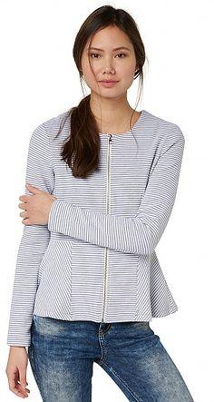 Gestreepte blazer van sweatstof in peplum-look voor dames (gestreept, met lange mouwen, ronde hals en ritssluiting aan de voorkant) - TOM TAILOR