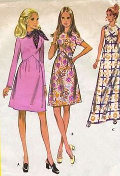 Vintage McCalls :2630 Special Occasion Maternity 1970 Empire Waist Dress in Three Versions Sewing Pattern