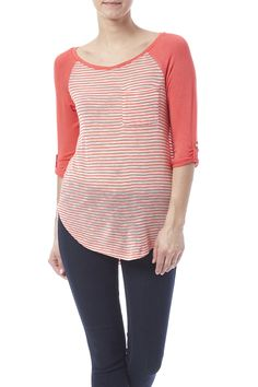 Coral 3/4 sleeve top with scoop hem side slits pocket detail and button tab sleeve.   Coral Top by Rosette by Be Cool. Clothing - Tops - Casual Iowa