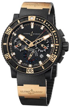 Ulysse Nardin Black Sea Chronograph 18K Rose Gold Automatic Men's Watch 353-90-3