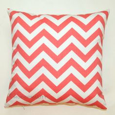 Premier Prints Coral Chevron Pillow Cover- 14x14 inches- Hidden Zipper Closure. $14.95, via Etsy.
