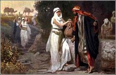 Moses Meets Zipporah at the Well, artist unk.