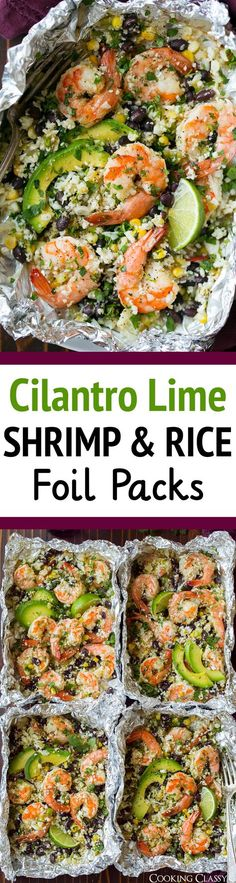 """Cilantro Lime Shrimp and Cauliflower """"Rice"""" Foil Packs - make this with bison instead!"""