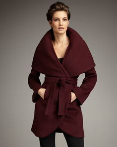Marla Wrap Coat by Elie Tahari Exclusive for Neiman Marcus. Available in Black or Wine. On sale for $177