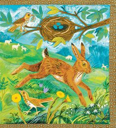 """""""A First Book of Nature"""" by Nicola Davies, illustrated by Mark Hearld Bunny Art, Bunny Pics, Children's Book Illustration, Illustration Styles, Glasgow School Of Art, Rabbit Art, Royal College Of Art, Nature Journal, Naive Art"""