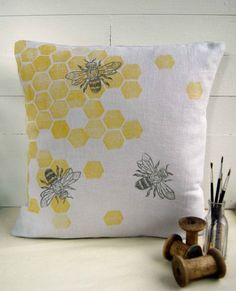 Cushion Cover, Honeycomb bee, Hand printed, Grey Natural Linen, Various Colours Available on Etsy, £14.00