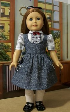 School clothes jumper and ruffled blouse by Keepersdollyduds… - American Girl Dolls Sewing Doll Clothes, Girl Doll Clothes, Doll Clothes Patterns, Girl Dolls, Doll Patterns, Ag Dolls, American Girl Doll Molly, American Girl Crafts, American Doll Clothes