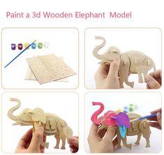 paint  Elephant 3D Wooden Puzzle Woodcraft Construction Kit for Sale on balloonsale.us