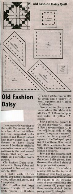 Old Fashion Daisy Quilt Block Pattern