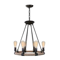 LNC Home Industrial 6 Light Candle-Style Chandelier