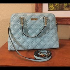 """Kate Spade Small Rachelle Beautiful blue quilted pattern Kate Spade Small Rachelle.  Can be worn as a Crossbody or remove the strap and use as a handbag. Interior is lined with blue Kate Spade fabric and has a zip pocket on one side and 2 slip pockets on the opposite side. Zip top closure with a leather zipper pull. Dimensions are approximately 12.5"""" x 5"""" x 8.75"""" high. No Trades kate spade Bags Crossbody Bags"""