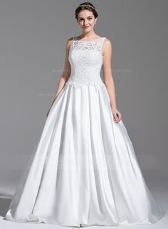 [US$ 299.99] Ball-Gown Scoop Neck Sweep Train Satin Lace Wedding Dress (002078680)