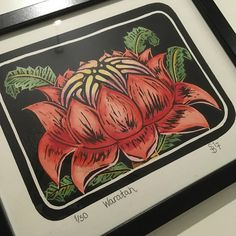 Lino Print Australian Waratah Hand pulled and coloured Winsor And Newton Watercolor, Hand Coloring, Prints, Beautiful, Printmaking