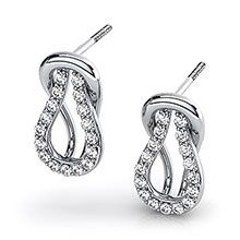 The Love Knot design simply an elegant look. Perfect for that special occasion. #diamondwave #loveknotearrings