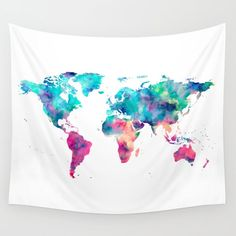 World Map with vivid colors of purple pink yellow green blue and turquoise. In my store get old maps new map antique gold rose earth vintage rosegold foil adventure earth stars space maps wild hiking national park wanderlust maps