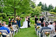 Waterfall wedding at Meijer Gardens in Grand Rapids, MI. Grand Rapids weddings. (Tiberius Images Photography)