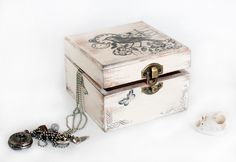 """Treasury  Box with Birds and Bicycle . Dimensions :4 1/2 """"/ 4 1/2' / 3"""". $22.00, via Etsy."""