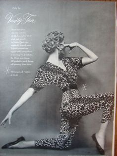 1954 VANITY FAIR Leopard Print Pajamas Lingerie MARK SHAW PHOTO Vintage Print Ad model Carmen dell'Orefice