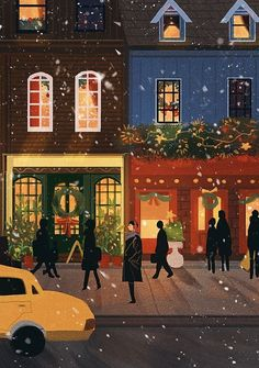 Image discovered by tomatoro. Find images and videos about beautiful, art and illustration on We Heart It - the app to get lost in what you love. Art And Illustration, Christmas Illustration, Christmas Art, Vintage Christmas, Xmas, Buch Design, Guache, Winter Pictures, Christmas Wallpaper