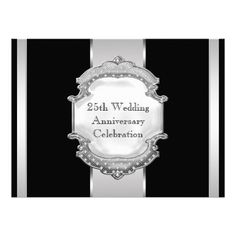 DealsBlack Silver 25th Wedding Anniversary Party Inviteswe are given they also recommend where is the best to buy