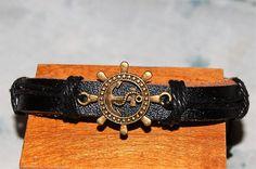 bracelet+homme+/+femme+réglable+cuir+et+médaille+de+bronze+marin,ancre+marine,++breloque,+amulette,prou