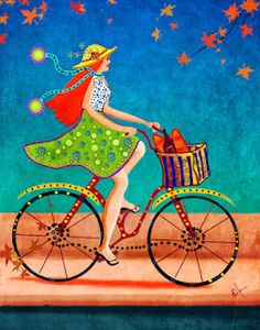 Sunny Williams Fine Art: Whimsical Bicycle Series See other ideas and pictures from the category menu…. Faneks healthy and active life ideas Bicycle Painting, Bicycle Art, Bicycle Illustration, Illustration Art, Stitch Games, Black And White Sketches, Small Canvas, Vintage Bicycles, Les Oeuvres