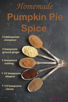 Homemade Pumpkin Pie Spice - It's easy to make your own homemade Pumpkin Pie Spice to use in all of your favorite fall recipes! pie spice pie spice recipe without cloves Homemade Pumpkin Pie Spice Homemade Spices, Homemade Seasonings, Homemade Dry Mixes, Homemade Spice Blends, Homemade Paint, Homemade Food, Pumpkin Recipes, Fall Recipes, Pumpkin Pumpkin