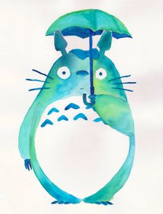 Totoro in the Rain Art Print - DIY? I wouldn't want this hanging in my house, but I do adore totoro