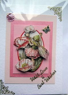 Poppy Fairy HandCrafted 3D Decoupage Card  With by SunnyCrystals, $3.55
