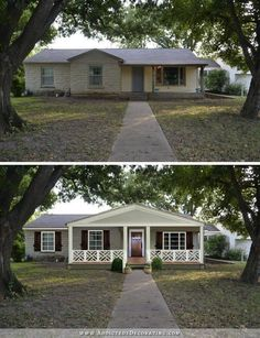 Best home exterior makeover modern fixer upper ideas Home Exterior Makeover, Exterior Remodel, House With Porch, House Front, Front Porch Addition, Ranch House Remodel, Pavillion, House Makeovers, Building A Porch