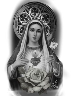 Mary Tattoo, Jesus Tattoo, I Tattoo, Clock Tattoo Design, Tattoo Designs, Art Drawings Sketches, Tattoo Drawings, Tattoo Virgen, Madonna Tattoo