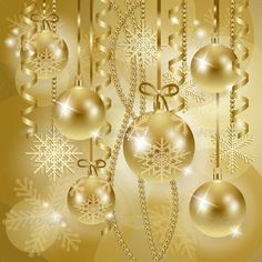 Buy Christmas Background with Baubles in Gold by LuisaVenturoli on GraphicRiver. Christmas background with baubles in gold, vector illustration Main file included: 1 file – 1 file JPG high res. Merry Christmas Vector, Christmas Balls, Christmas Pictures, Christmas And New Year, Christmas Time, Christmas Ornaments, Victorian Christmas, Vintage Christmas, Vintage Winter