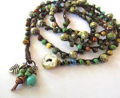 Crochet wrap bracelet / necklace beaded boho by CoffyCrochet, SOLD