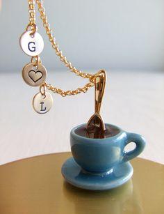 Coffee cup necklace! @Christie Moffatt Moffatt Patmore  I thought of you and @Cerissa Godfrey !