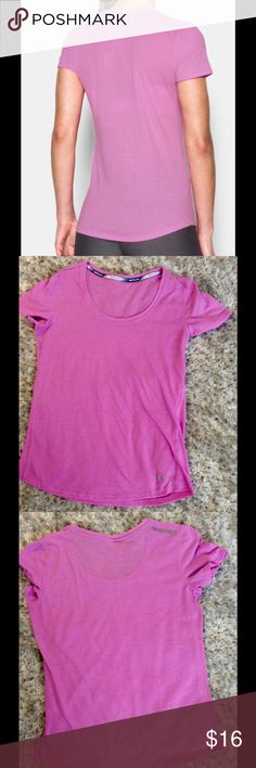 Under Armour Streaker Run top color is violet.  Cut out the tag on the bottom but it is a small.  Measures 17.5 inches armpit to armpit.  See sizing chart in pic 4.  Very good used condition. Under Armour Tops