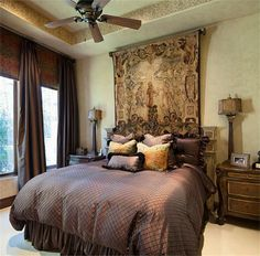 Stunning Texas Stone-&-Stucco Estate located on hole of Tom Fazio Golf Course. Tapestry Bedroom, Bedroom Bed, Dream Bedroom, Master Bedrooms, Bedroom Suites, Bed Rooms, Tapestry Wall, Guest Rooms, Tuscan Bedroom Decor