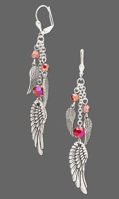 """Earrings with Celestial Crystal® Beads, Antiqued Silver-Plated """"Pewter"""" Charms and Antiqued Silver-Finished Pewter Charms"""